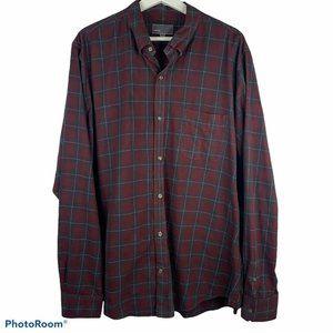 Vince Maroon Plaid Print Long Sleeve Button Shirt